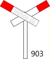 Andreaskreuz Ep. II, querliegend gekürtzer Flügel für beschrankte Bahnübergänge