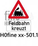 Verkehrszeichen Feldbahn kreuzt