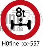 Verkehrszeichen Verbot tatsächliche Achslast