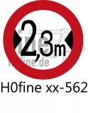 Verkehrszeichen Verkehrsverbot für Fahrzeuge über 2,3 m Breite