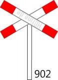 Andreaskreuz Ep. II, querliegend für unbeschrankte Bahnübergänge