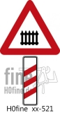 Verkehrszeichen Dreistreifige Bake rechts beschrankter Bahnübergang