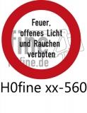 Verkehrszeichen Feuer, offenen Licht und Rauchen verboten